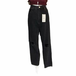 Zara Classic Ripped Womens Mom Jeans Black Size 14
